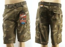Plugg Mens Cargo Shorts 9 Pocket Belted Vintage Wash