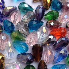 Lots Gloosy Teardrop Crystal Glass Faceted Spacer Beads Jewelry Findings 15*10mm