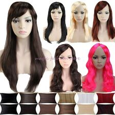 UK Women Long Curly Straight Full Wig Cosplay Party Fancy Dress Thick Blonde Q21