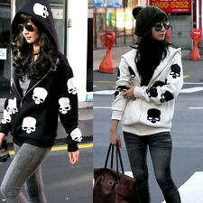 Korean Style Women Black/White Skull Pattern Loose Soft Hooded Warm Coat Jacket