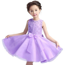 Lovely Girls Net Yarn Dress Princess Vintage Special Occasion Wedding Party 2-8Y