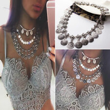 Silver Ethnic Tribal Festival Women Coin Coller Necklace Chain Accessory Jewelry