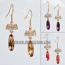 Rhinestone Drop Dangle Earrings 18KGP Crystal