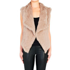 New Thick Jacket 100%Real Knitted Rabbit Fur Vest Hook Waistcoat Free Size V0104