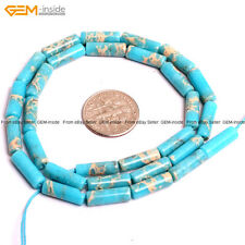 "GEM-inside 4x14mm Tube Crazy Lace Agate Onyx GEM Loose Beads 15"" Dyed Sky Blue"