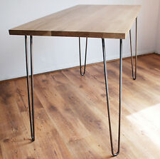 Natural Solid Oak Desk with Vintage Mid-Century Metal Hairpin Legs - Solid Wood