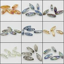 5pcs 8x22mm Faceted Cut Two Pointed Glass Crystal Loose Spacer Charm Beads