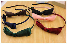 Skinny Thin Plain Headband Alice Bow Tie Satin Organza Hair Band Vintage Prop