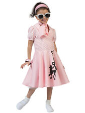 Girls Pink Rock n Roll Costume Child 50s Poodle Hop Fancy Dress Outfit 3-10yrs