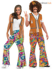 Adults 60s Psychedelic Flares Mens Ladies 70s Hippy Fancy Dress Hippie Costume