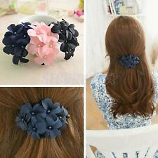 Stylish Charm Colored Fabric Flower Hair Barrette Hair Clip Claw Clamp Jewelry