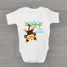 Personalised Little Brother Cheeky Monkey ❤ Baby Grow Body Suit Vest Very Cute ❤