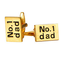 18K Gold/Platinum Plated No.1 Dad Letters Mens Shirt Cufflinks Father's Day Gift