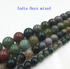 "India Onyx Natural Gemstone Round Spacer Loose Beads 15"" Strand"