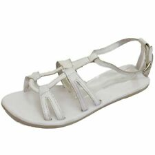 LADIES LEATHER WHITE GLADIATOR FLAT SANDALS FLIP-FLOPS HOLIDAY SHOES SIZE 4-8