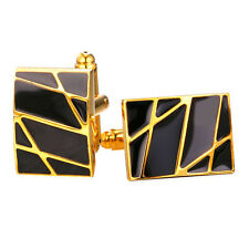 Black Enamel Abstract Image 18K Gold/Platinum Plated Shirt Cufflinks for Men