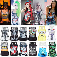 Womens Summer Fashion Print Vest Sleeveless Gothic Shirt Casual Blouse Tank Tops