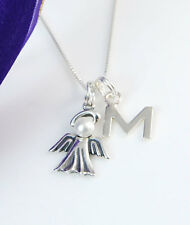 Sterling Silver Remembrance or Memory Necklace - Pearl Angel and Initial Charms