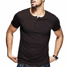 Fitted Mens Basic Tee Henley Shirt Short Sleeve T-shirt Soft Basic Tee M-XXL