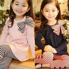 Kid Girl Child Bow Striped Leggings Suit Long Sleeve Shirts Tops Sets Size 3-8 Y
