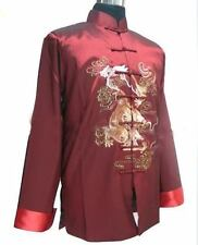 Chinese Men's silk Dragon Kung Fu Party Jacket/Coat Burgundy Sz: M L XL XXL XXXL