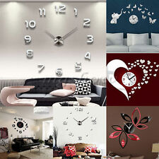 3D Home Decoration Crystal Mirror Home Room Gift Sticker DIY Surface Wall Clock