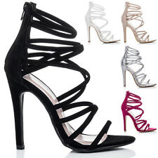 Womens Open Peep Toe High Heel Stiletto Strappy Sandals Sz 5-10