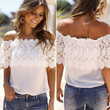 Summer Women Lace Chiffon Off Shoulder Tops Shirt Casual Blouse T-Shirt Size6-14
