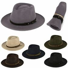 Men's Ladies Fedora Hat 100% Wool Felt Made In Italy Waterproof & Crushable