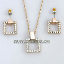 A1-S033 Fashion Square Necklace Earrings Jewelry Set 18KGP Crystal Rhinestone