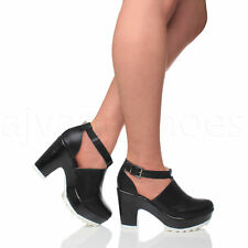 WOMENS LADIES CHUNKY CLEATED CUT OUT PLATFORM ANKLE BOOTS BOOTIES SANDALS SIZE
