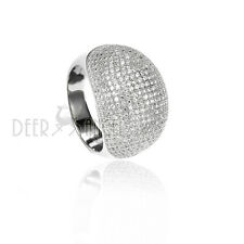 925 Sterling Silver Paved White Zirconia Stones Fashion Women Ring Size 6 7 8 9