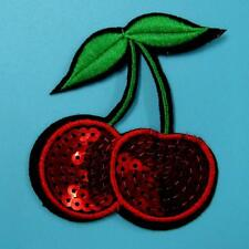 Sequin Cherry Apple Iron on Sew Patch Applique Badge Embroidered Biker Fruit Lot