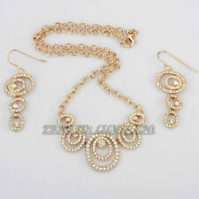 A1-S055 Fashion CZ Rings Choker Earrings Necklace Jewelry Set 18KGP Crystal