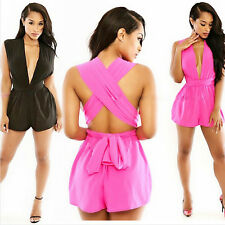 Chiffon Deep V-neck Backless Cross Strap Playsuit Dresses Sexy Siamese Trousers