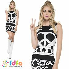 60s PEACE LOVER MONO CND MOD CHICK - UK 8-18 - womens ladies fancy dress costume