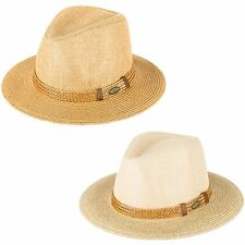 Men's Ladies Plain Woven Fedora Hat With Woven Band With Badge