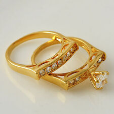 Chic Classy Ring Set 18K Yellow Gold Filled Clear CZ Ring Size 7 8 9 Fashion