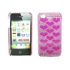 RHINESTONE DIAMANTE HOT PINK AND PINK HEART HARD BACK CASE FOR APPLE IPHONE 4/4S