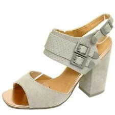 LADIES DOLCIS GREY CHUNKY HEEL ANKLE STRAP PEEP-TOE SANDALS SHOES SIZES 3-8