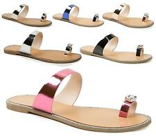 Ladies Toe Post Flip Flops Womens Diamante Flat Sandals Summer Beach Size 3-8