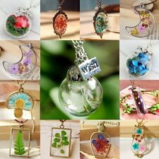 Real Flower Dandelion Seeds Lucky Glass Wish Bottle Pendant Necklace Jewelry New