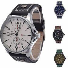 Fashion Date PU Leather Stainless Steel Military Sport Quartz Men's Wrist Watch