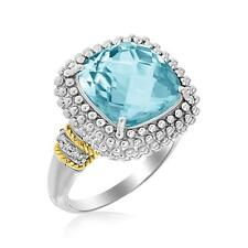 Sterling Silver Cushion Sky Blue Topaz Diamond Popcorn Ring