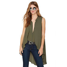 Women Fashion Sleeveless Asymmetrical Flouncing Hem  Blouse Top Summer Shirt