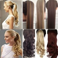 Long Ponytail Wrap Around Clip In Pony tail Hair Extensions Brown Blonde LK9
