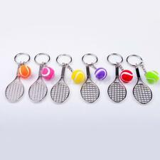 Tennis Racket With Ball Charm Pendant Purse Bag Keyring Key Chain Hanging Decor