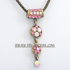 Fashion Pink Flower Women Vintage Style Necklace Pendant Rope Chain
