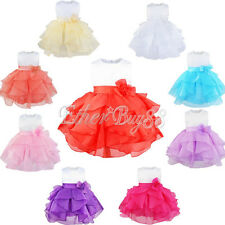 Flower Girl Baby Sleeveless Organza Tutu Princess Birthday Party Baptism Dress