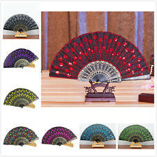 Fashion Embroidered Folding Sequins Hand Lace Flower Fan Party Wedding Decor Fan